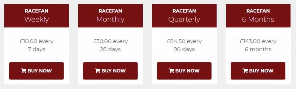 Racefan Review Prices