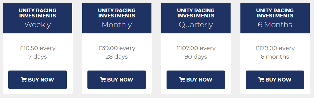 Unity Racing Investments Review Prices